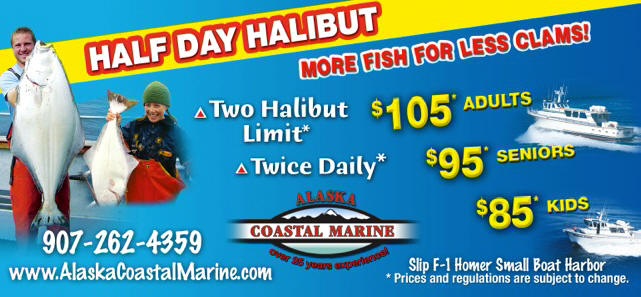 Half day halibut fishing trips in homer alaska for Half day fishing trips